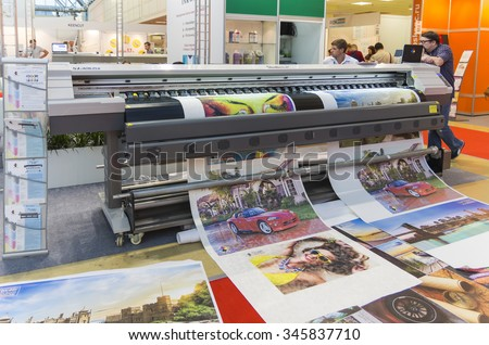 MOSCOW-SEPTEMBER 24, 2015: Wide Format Printer at the International Trade Fair Reklama 2015 advertising expo in Moscow.