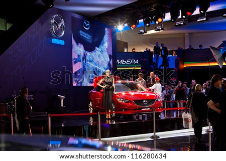 MOSCOW-SEPTEMBER 9: World premiere of Mazda 6 at the Moscow International Automobile Salon on September 9,2012 in Moscow