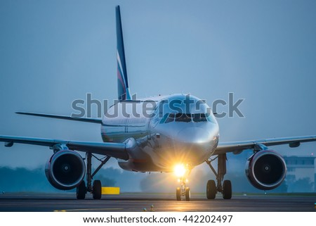 Moscow, Sheremetyevo airport, Russia - June 04, 2016: Airbus A320 VP-BME Aeroflot taxiing to terminal after landing at Sheremetyevo international airport at sunrise