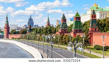 Moscow skyline - panoramic view of the Kremlin Embankment of Moskva River, Kremlin Walls and Towers in Moscow, Russia in summer day - stock photo