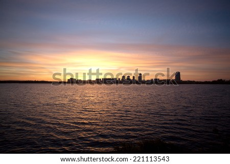 Moscow Strogino district in the evening at sunset. View from Strogino Bay
