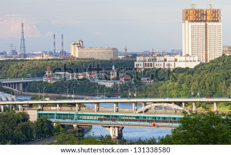 Moscow, view of the Luzhnetsky metro bridge and Moskva River