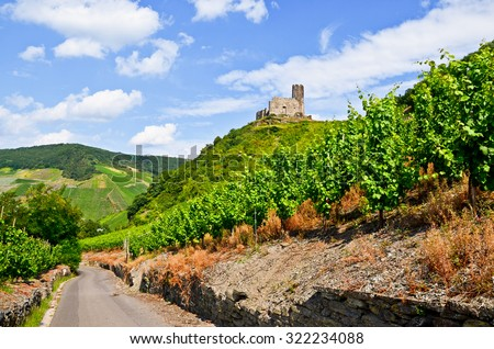 Moselle Valley Germany: View to vineyards and ruins of Landshut castle near Bernkastel-Kues, Europe - stock photo