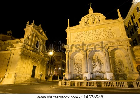 Moses fountain in Rome, Italy - stock photo