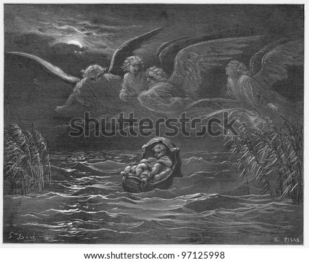 Moses on the river Nile in a basket - Picture from The Holy Scriptures, Old and New Testaments books collection published in 1885, Stuttgart-Germany. Drawings by Gustave Dore. - stock photo