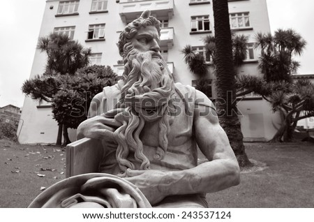 Moses statue in Myers Park, Auckland. It's heritage marble copy of Michelangelo's sitting Moses statue in the church of San Pietro in Vincoli in Rome. - stock photo