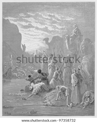 Moses striking the rock in Horeb - Picture from The Holy Scriptures, Old and New Testaments books collection published in 1885, Stuttgart-Germany. Drawings by Gustave Dore. - stock photo