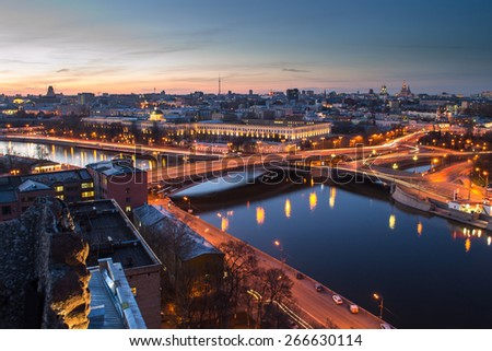 Moskva river, Big Ustyinsky bridge and Military academy missile wax at evening in Moscow, Russia. Long exposure.  - stock photo