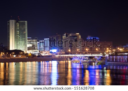 Moskva River in night. Moscow, Russia