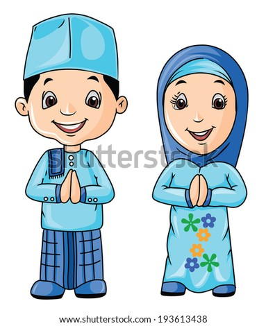 Malaysian People Clipart Moslem Day - stock photo