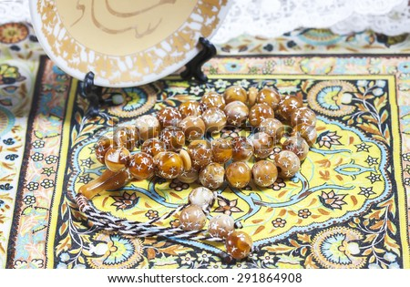 moslem prayer beads. Selective focus - stock photo
