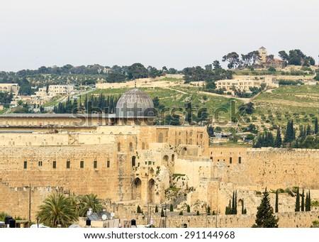 Mosque Al-aqsa on Temple Mount, Jerusalem Israel - stock photo