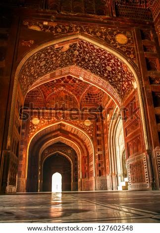 Mosque at the Taj Mahal. Agra, Uttar Pradesh, India - stock photo