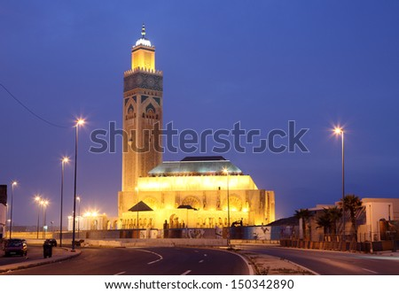 Mosque Hassan II at night. Casablanca, Morocco, North Africa - stock photo
