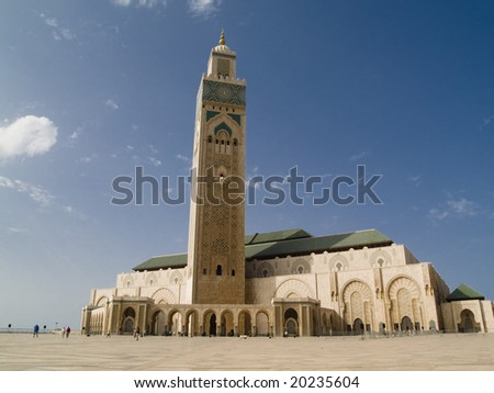 Mosque Hassan II in Casablanca, Morocco. Summer day, blue sky.