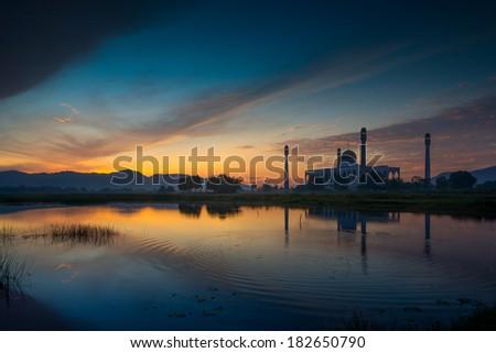 mosque in sunrise - stock photo