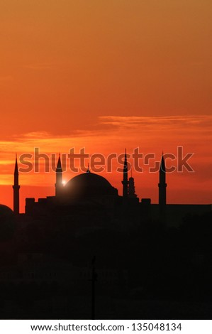 Mosque in sunset - stock photo