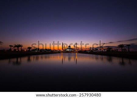 mosque in thailand during sunset - stock photo