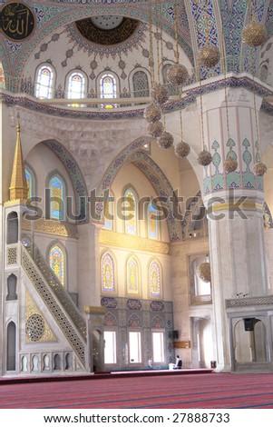 Mosque inside - Kocatepe Ankara Turkey - stock photo