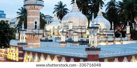 Mosque Jamek at Kuala Lumpur, Malaysia - stock photo