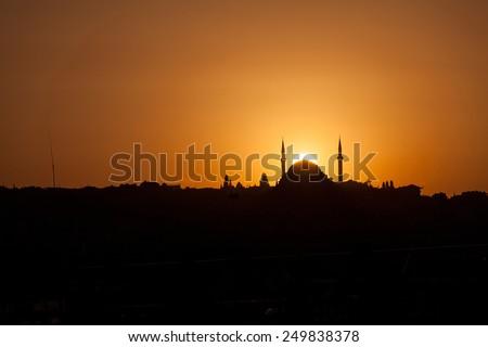 Mosque silhouette - stock photo