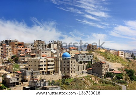 mosque with a minaret in the muslim quarter of Nazareth, Galilee, Israel - stock photo