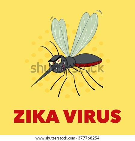 Mosquito Cartoon Character Flying. Raster Illustration With Background With Text Zika Virus