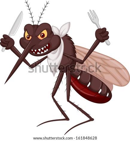 Mosquito cartoon ready to eat - stock photo