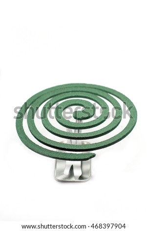 mosquito coil - Anti mosquito green color - insecticides, coils - anti mosquito smoke spiral isolated on the white background