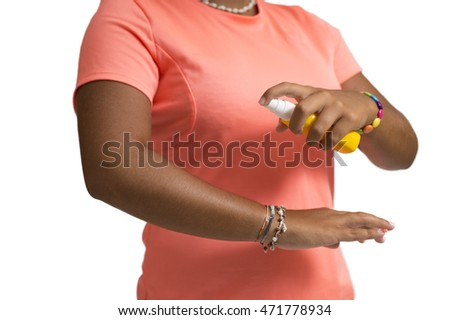 Mosquito repellent. Woman spraying insect repellents on white background