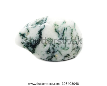 moss agate semigem geological crystal isolated - stock photo