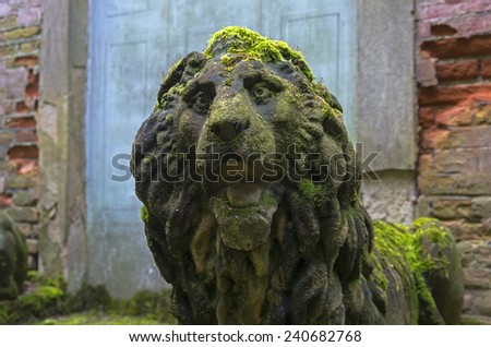Moss-covered stone lion head. A fragment of a stone statue in the old park. Italy. - stock photo