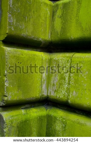 mossy stone facade - stock photo