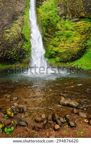 Mossy Waterfall at Columbia, Columbia Gorge - stock photo