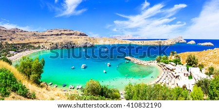 most beautiful beaches of Greece - Lindos in Rhodes island - stock photo