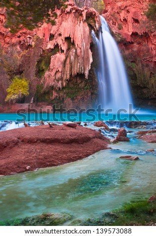Most Beautiful falls in United States--Havasu Falls,Supai, Arizona - stock photo