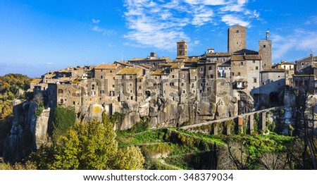 most beautiful medieval villages of Italy -Vitochiano (Viterbo pr - stock photo