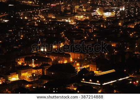 Most city at the night in Czech republic