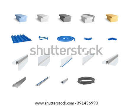 Most frequently used construction elements for waterproofing and thermal insulation - stock photo