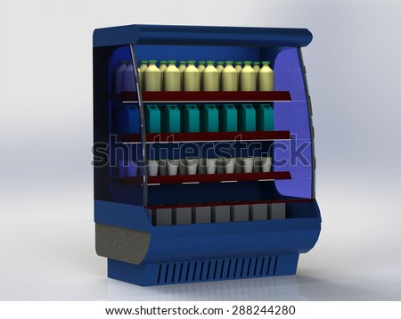 Most of the refrigeration unit to store showcase with the goods on the shelves isolated - stock photo