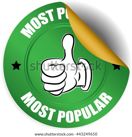 Most popular green sticker, button, label and sign. - stock photo
