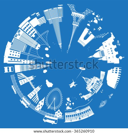 Most popular places to see in style paper cut. Around the World Travel Set.