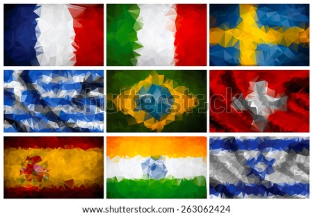 Most popular world flags. Geometric polygonal style. Part 2. Raster version. - stock photo