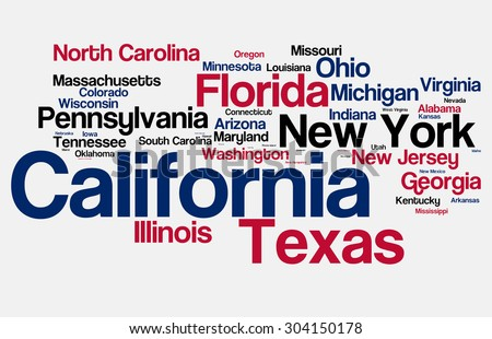 Most Populated States of the USA - stock photo