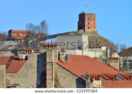 Most tourist attraction in Vilnius, Lithuania - Gediminas Tower, spring - stock photo