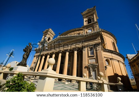 Mosta Dome Cathedral ( St. Mary church)  - Malta - stock photo