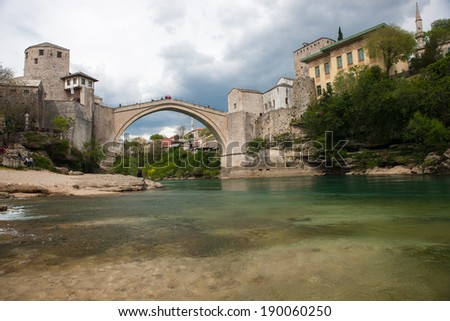 MOSTAR, BOSNIA AND HERZEGOVINA - April 16, 2014 - Old bridge in Mostar, Bosnia and Herzegovina. - stock photo