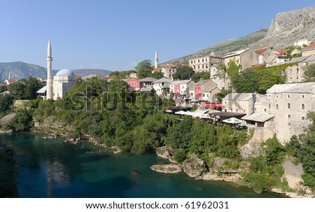 MOSTAR, BOSNIA AND HERZEGOVINA- SEPTEMBER 24: Tourists Peruse the Colorful Shops in the Old Town of Mostar On September 24, 2010 in Mostar, Bosnia and Herzegovina