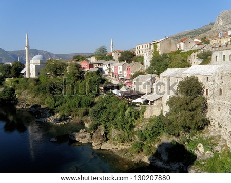 Mostar was one of the most ethnically diverse cities in Bosnia but today suffers geographical division of ethnic groups. The city was the most heavily bombed of any Bosnian city during the Bosnian war - stock photo