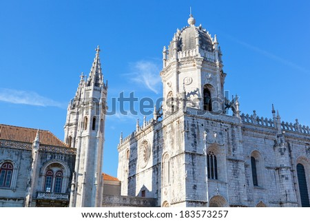 Mosteiro dos Jeronimos of Lisbon in Portugal